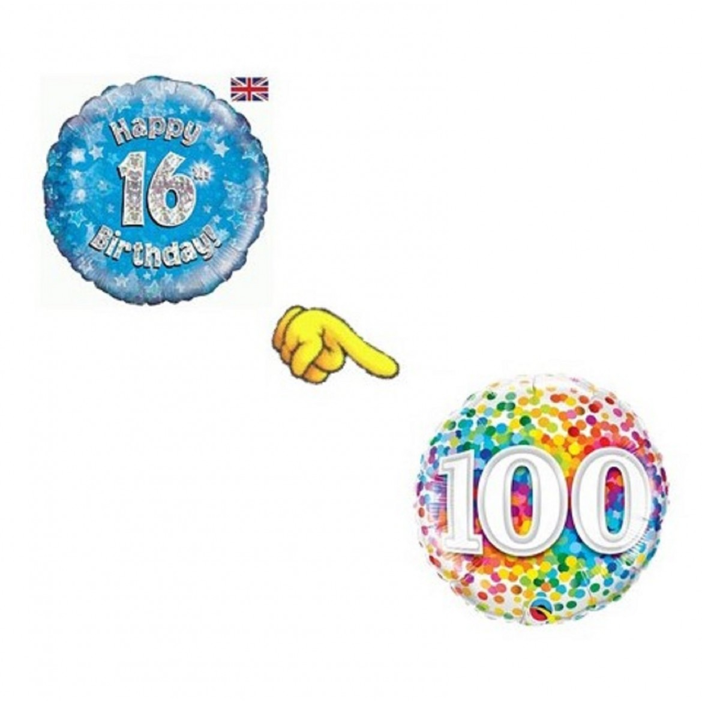 Ballons avec chiffres imprimés 16 à 100