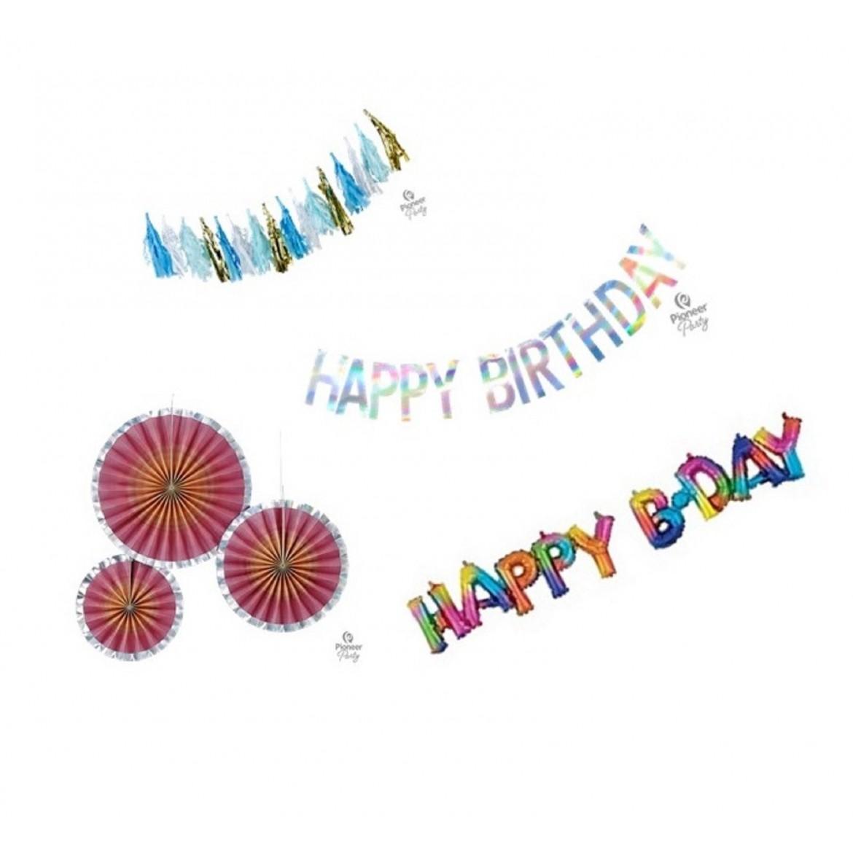 article décoration guirlande rosace banner anniversaire naissance baby shower