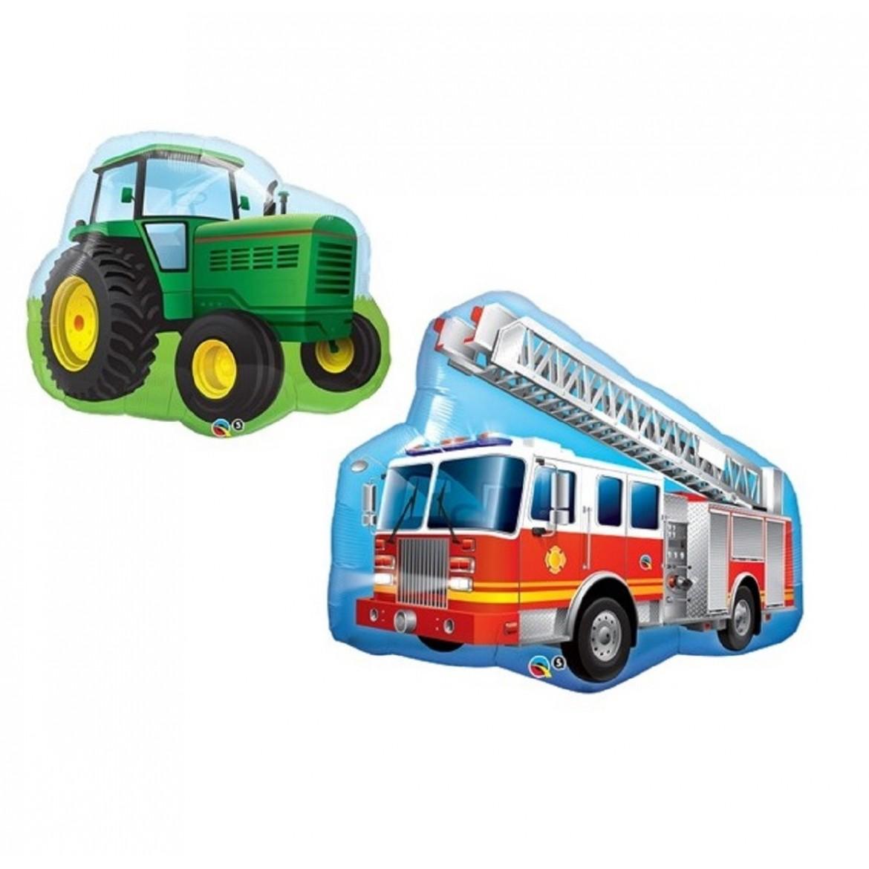 Ballons véhicules voiture tracteur pelleteuse pompier police